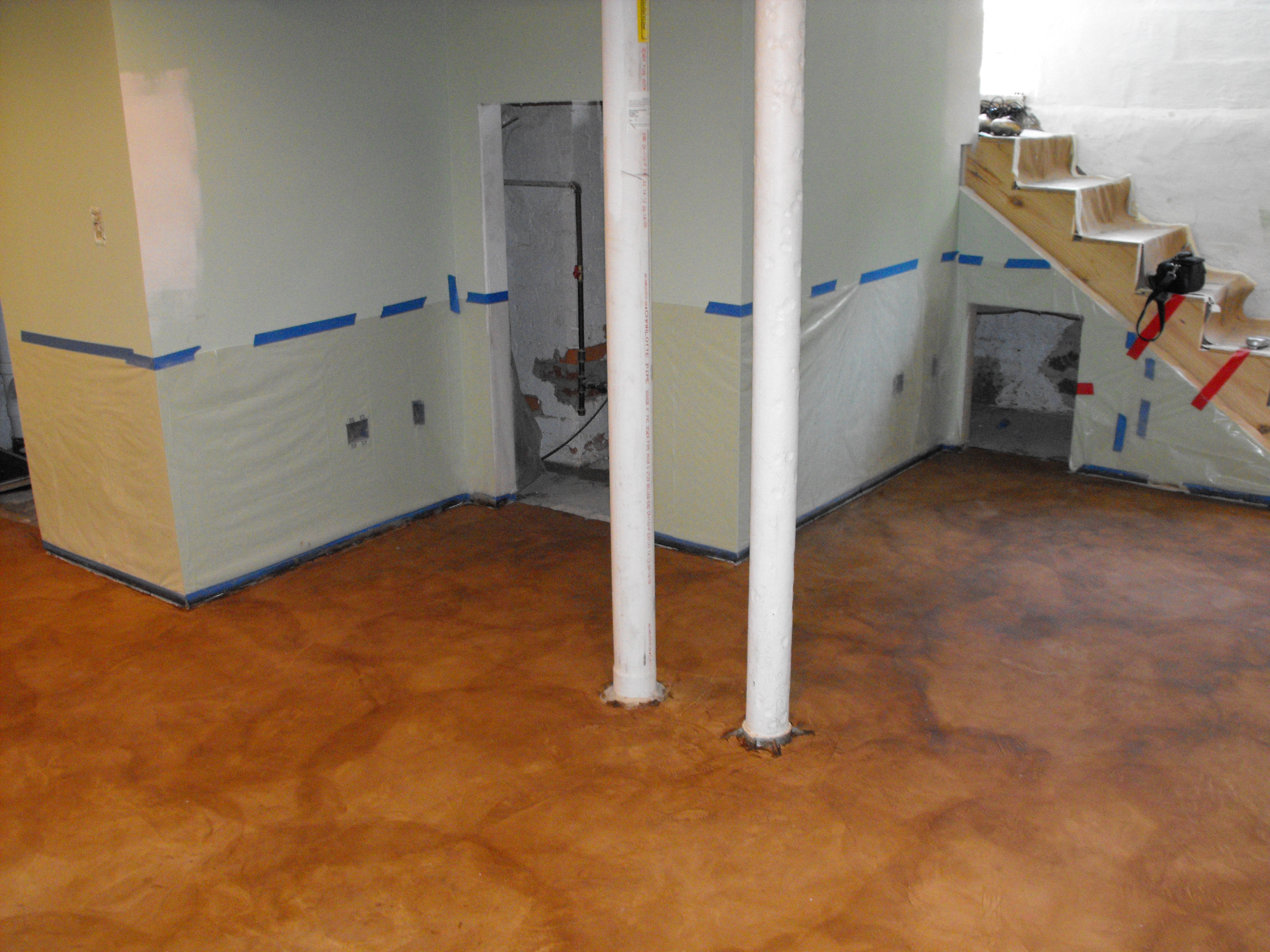 Stain on concrete basement floor fort wayne in nick for Concrete basement floor