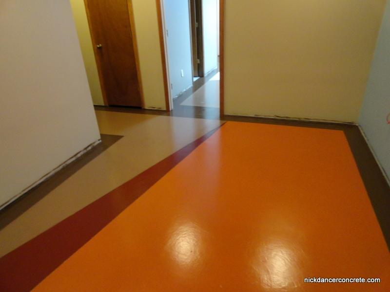 Colored epoxy basement concrete floor fort wayne for Colored concrete floors