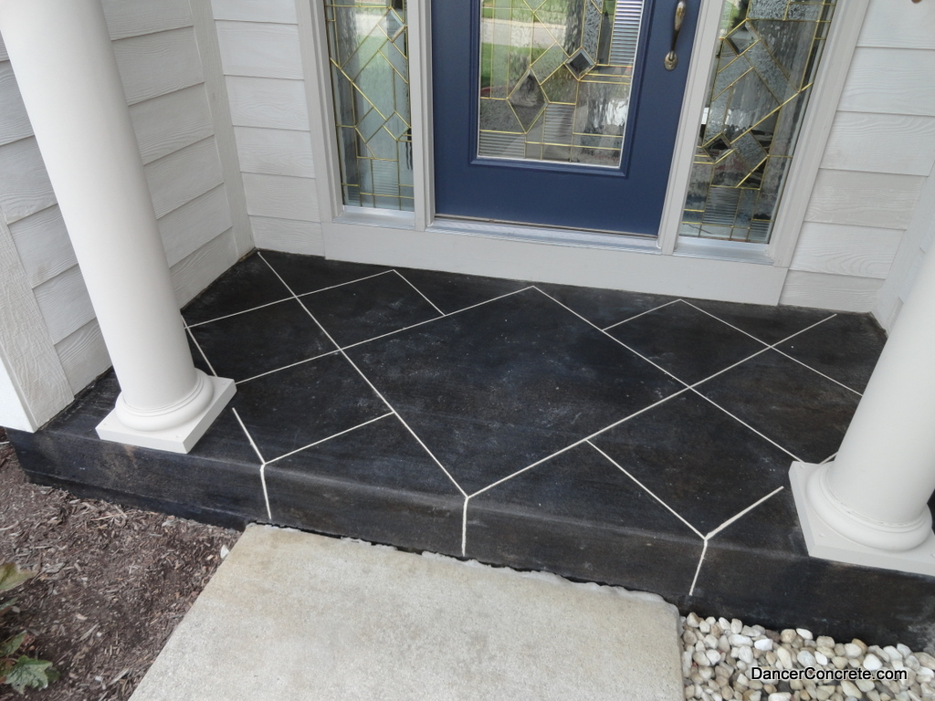 Concrete floors on pinterest concrete patios stamped for Stained front porch