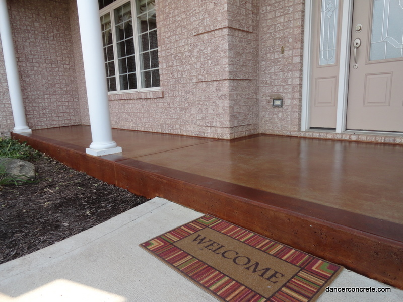 Stained concrete outdoor porch fort wayne dancer for Best way to clean concrete porch